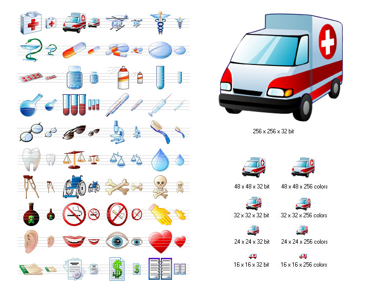 Stock icons for medicine-related projects